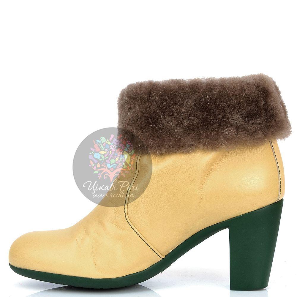 Ботинки Pakerson зимние кожаные цвета шампань на удобном каблуке