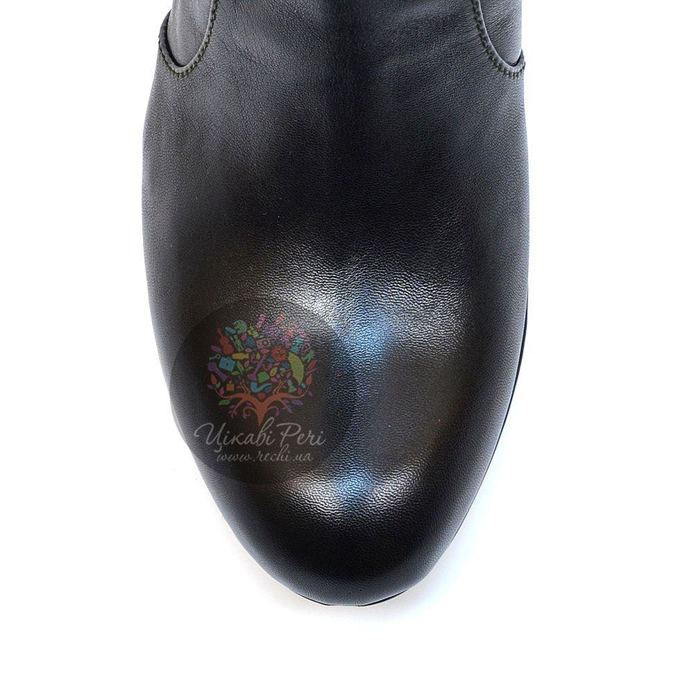 Сапоги Pakerson осенние кожаные черные на английском каблуке