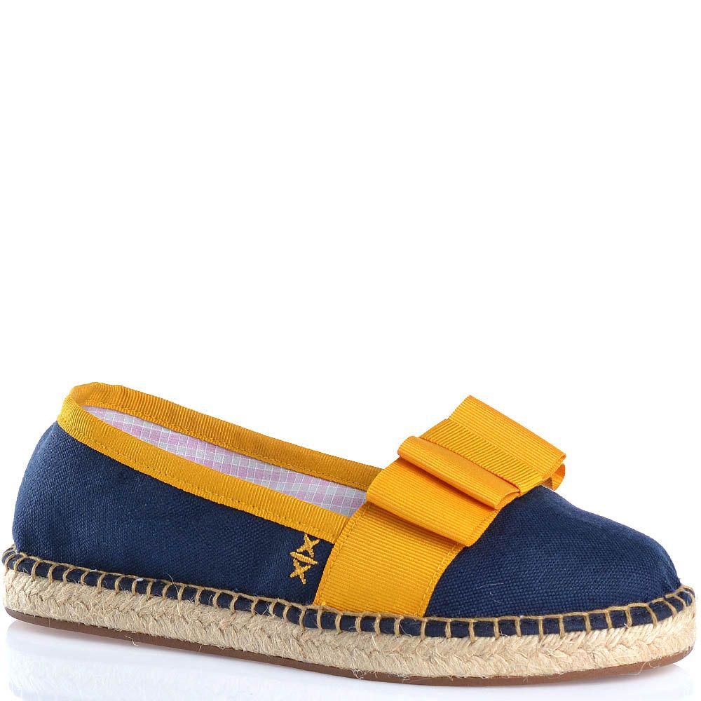 Эспадрильи Escadrille текстильные темно-синие с ярким желтым бантом