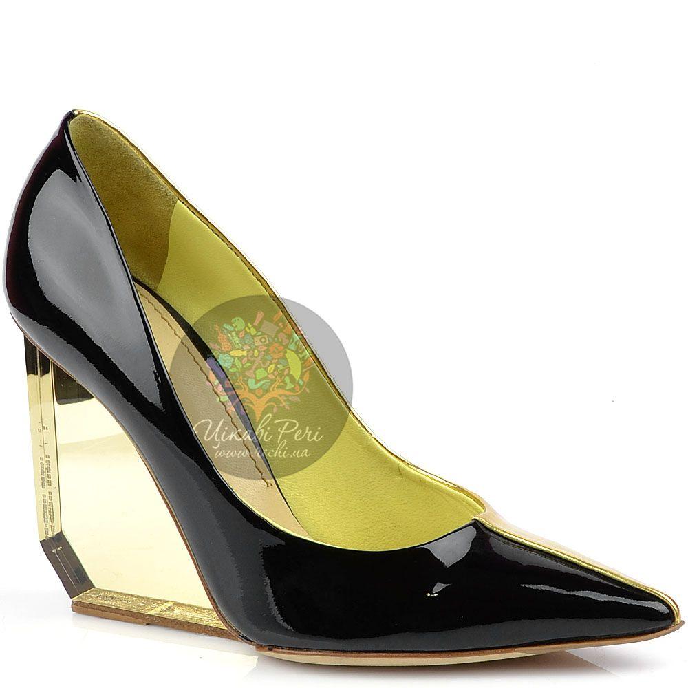 Туфли Pollini черно-золотые на трендовой прозрачной танкетке