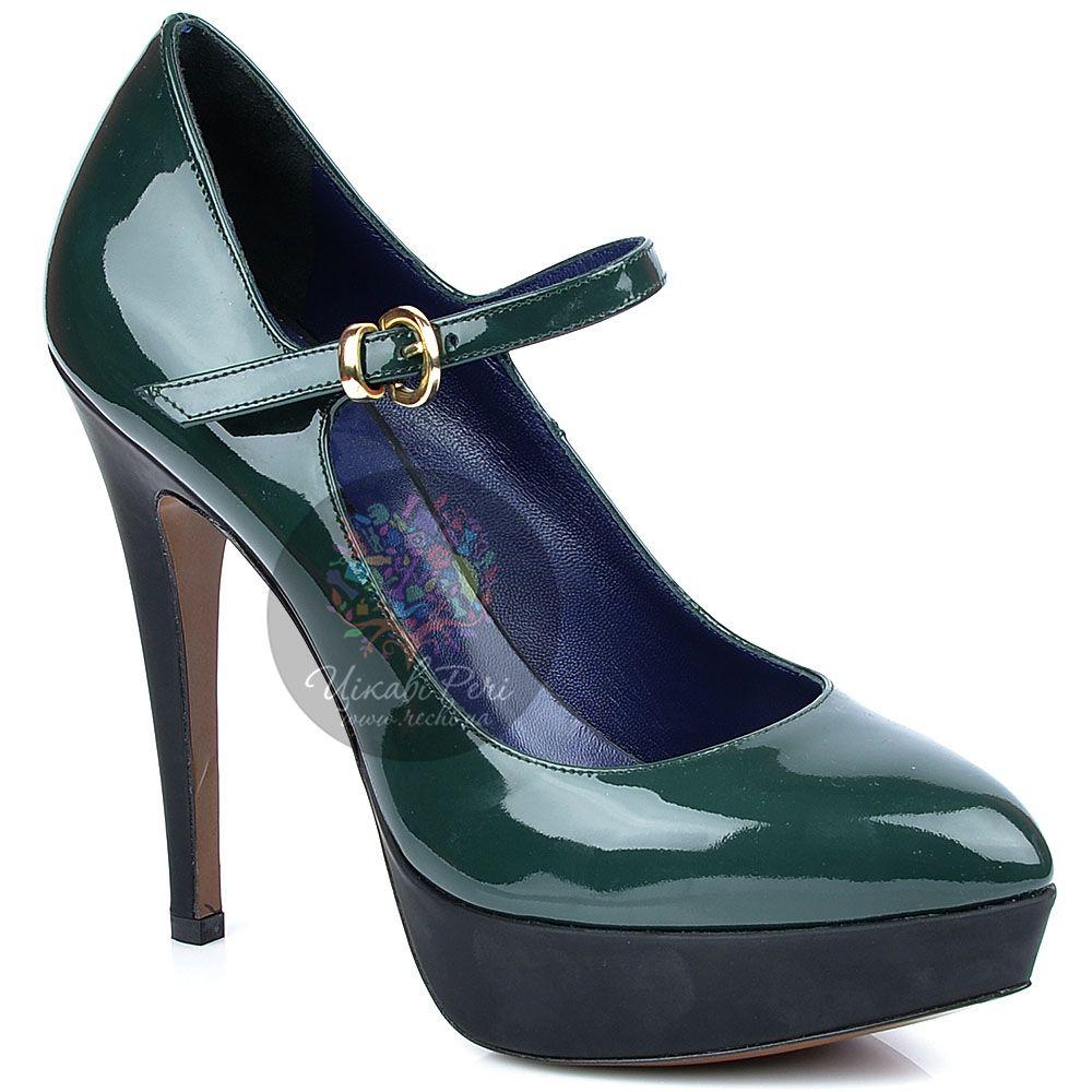 Туфли Studio Pollini на платформе и шпильке лаковые зеленые с ремешком