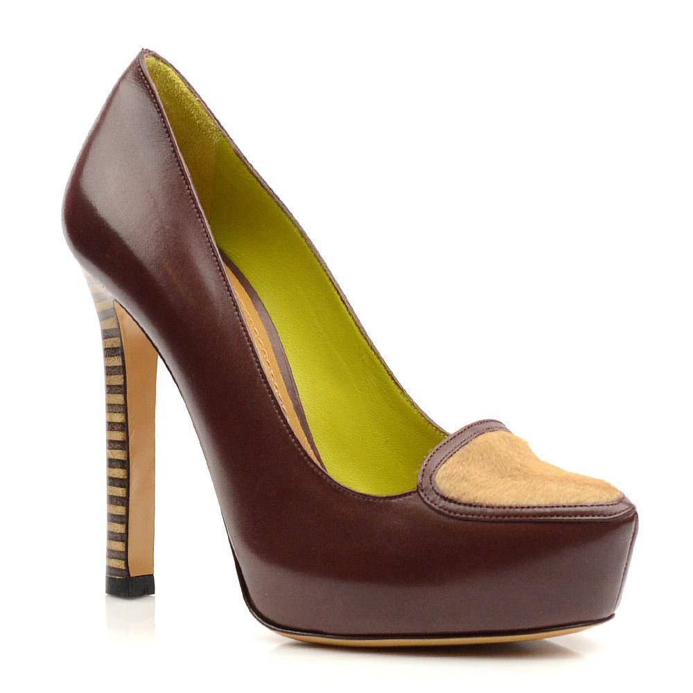 Женские кожаные туфли на высоком каблуке Pollini коричневые