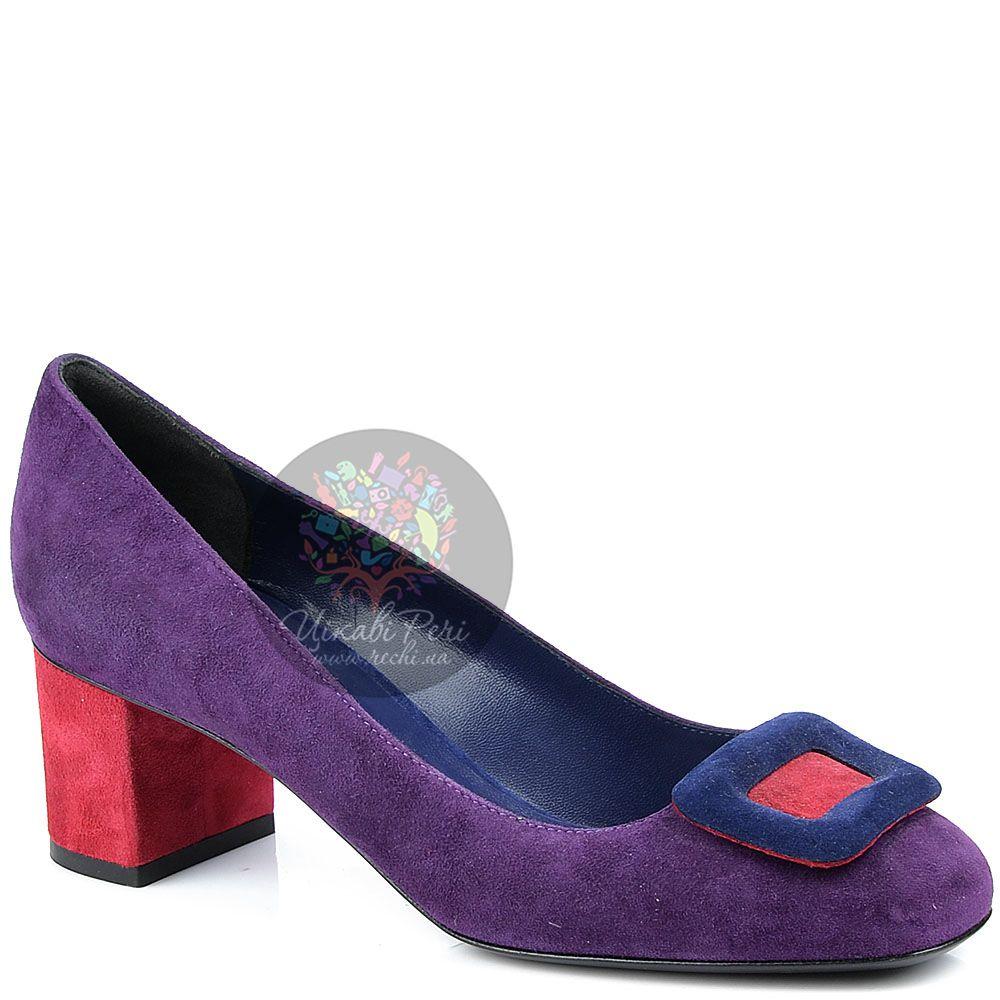 Туфли Studio Pollini замшевые пурпурные с красным невысоким каблуком