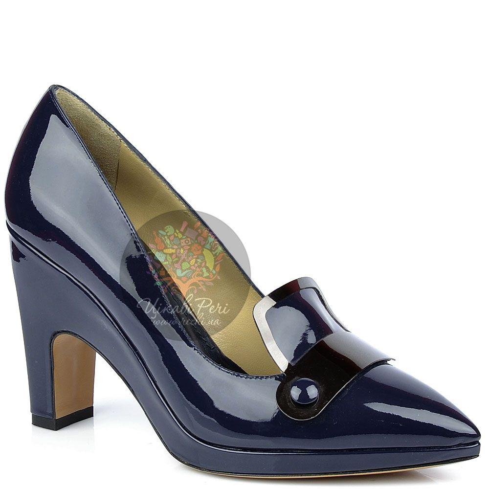 Туфли Pollini лаковые темно-синие с зауженым носком