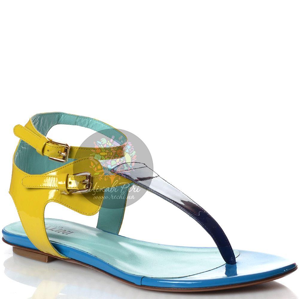 Сандалии Studio Pollini через пальчик кожаные лаковые сине-желтые