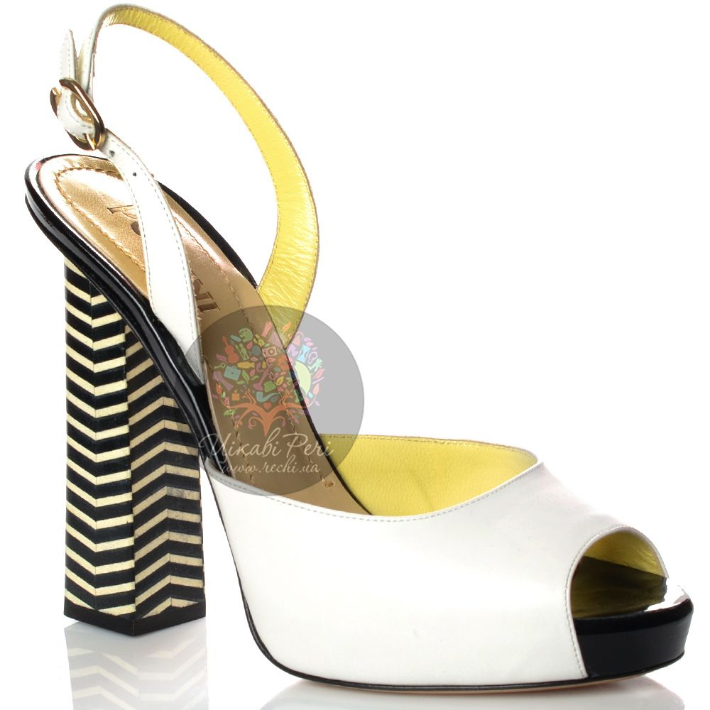 Босоножки Pollini кожаные белые на полосатом черно-белом каблуке-столбике