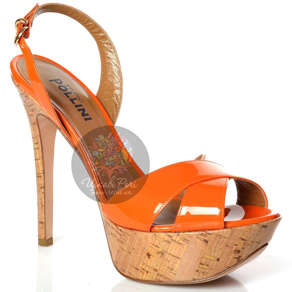 Босоножки Studio Pollini на высокой шпильке кожаные оранжевые лаковые