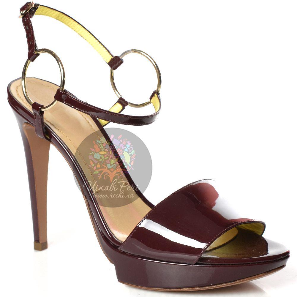 Босоножки Pollini на шпильке кожаные лаковые красно-коричневые с тонким ремешком на кольцах