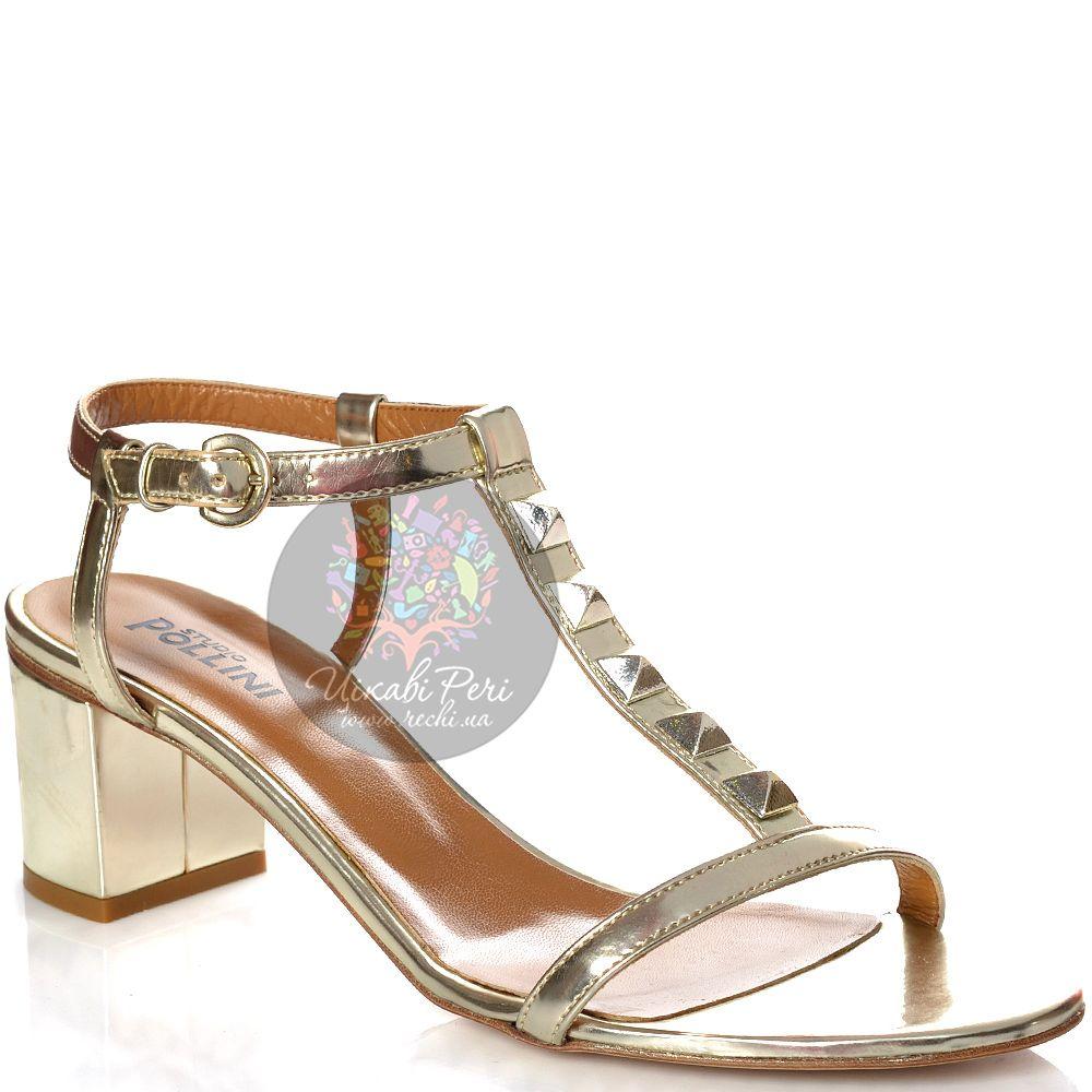 Сандалии Studio Pollini кожаные светло-золотистые с шипованым Т-ремешком