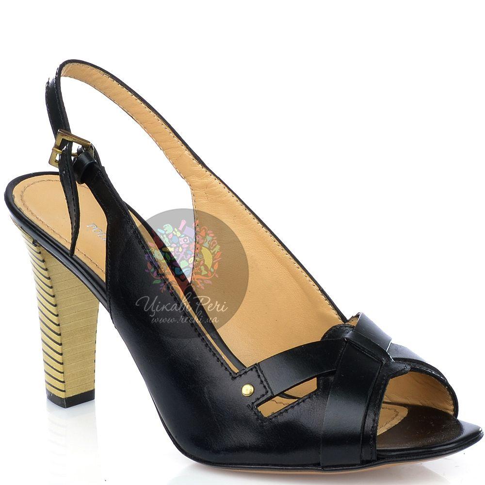 Босоножки Pollini из черной кожи на наборном каблуке-столбике