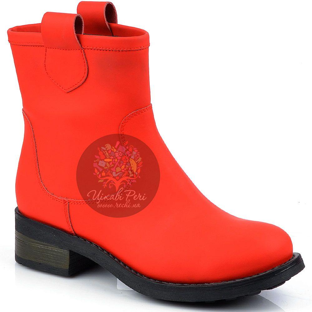 Ботинки Studio Pollini без застежки из ярко-красного нубука