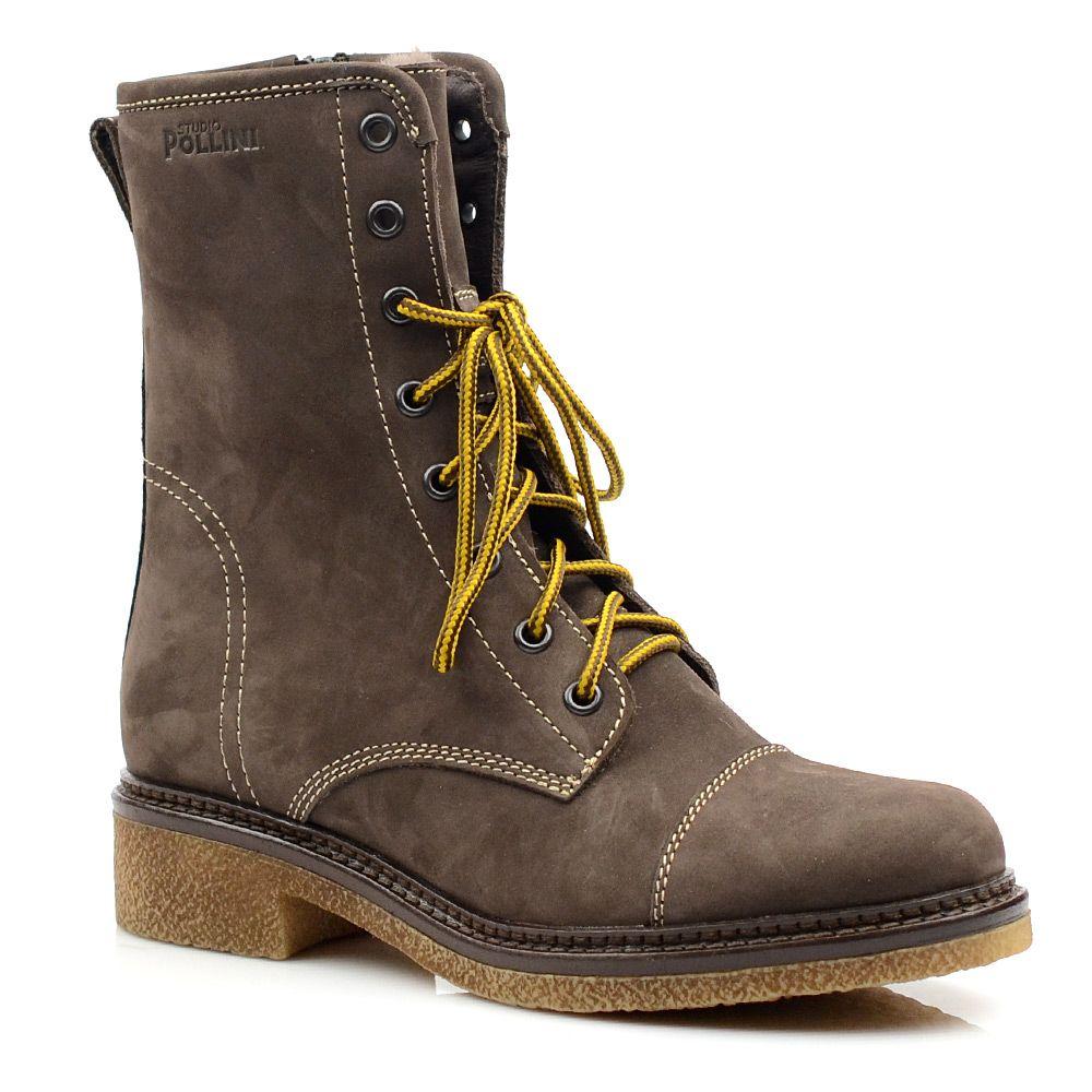 Женские зимние ботинки Studio Pollini коричнево-серые