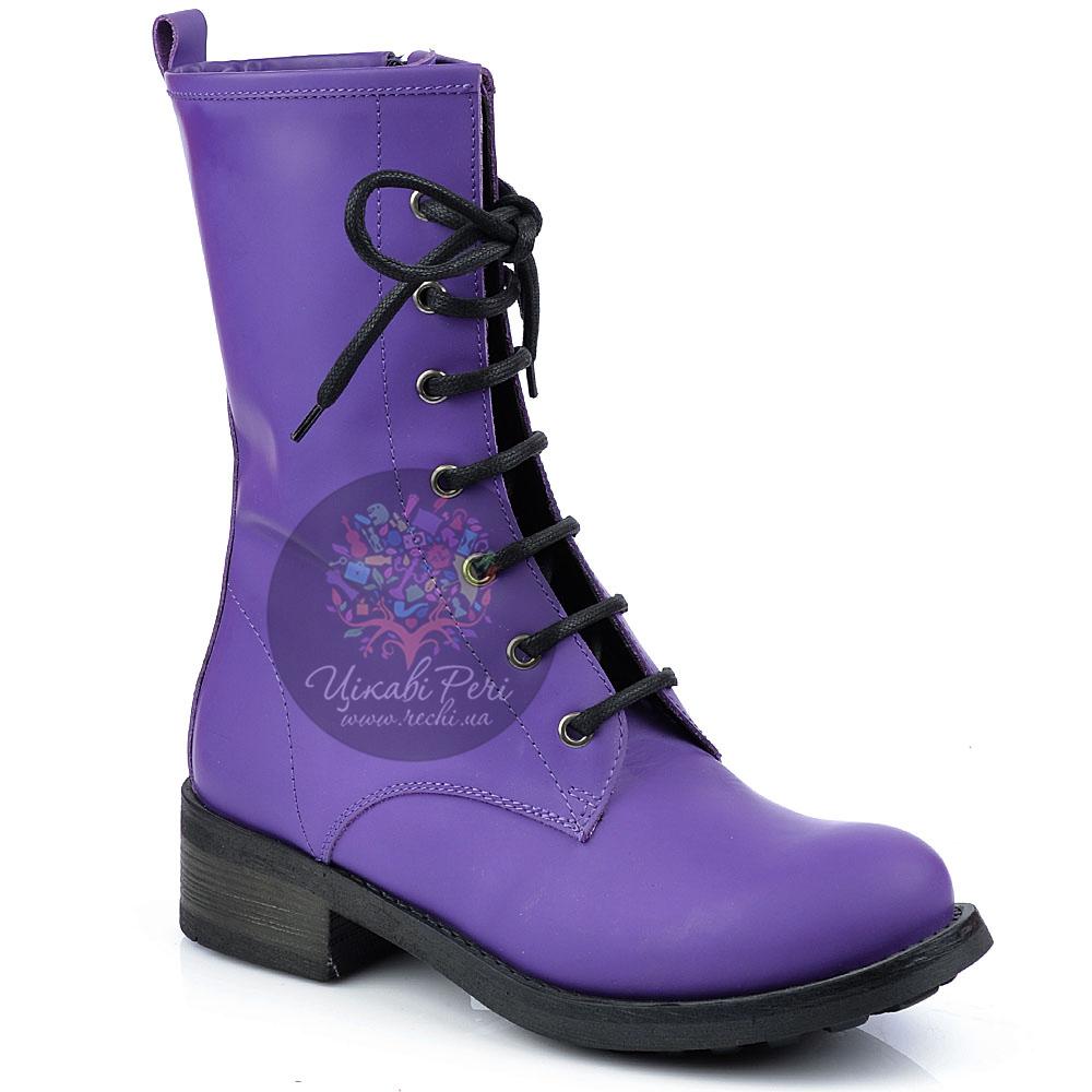Ботинки Studio Pollini на шнуровке и молнии из ярко-фиолетового нубука