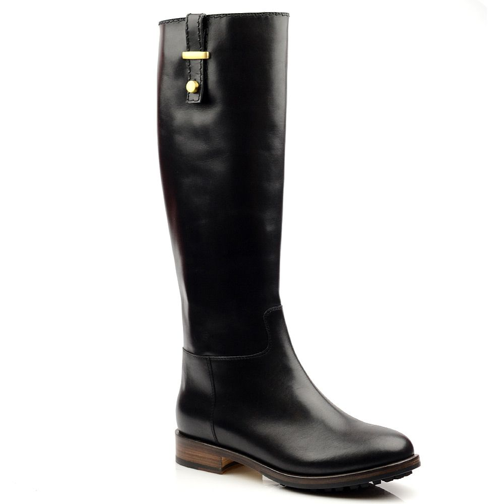 Женские кожаные сапоги Studio Pollini черные