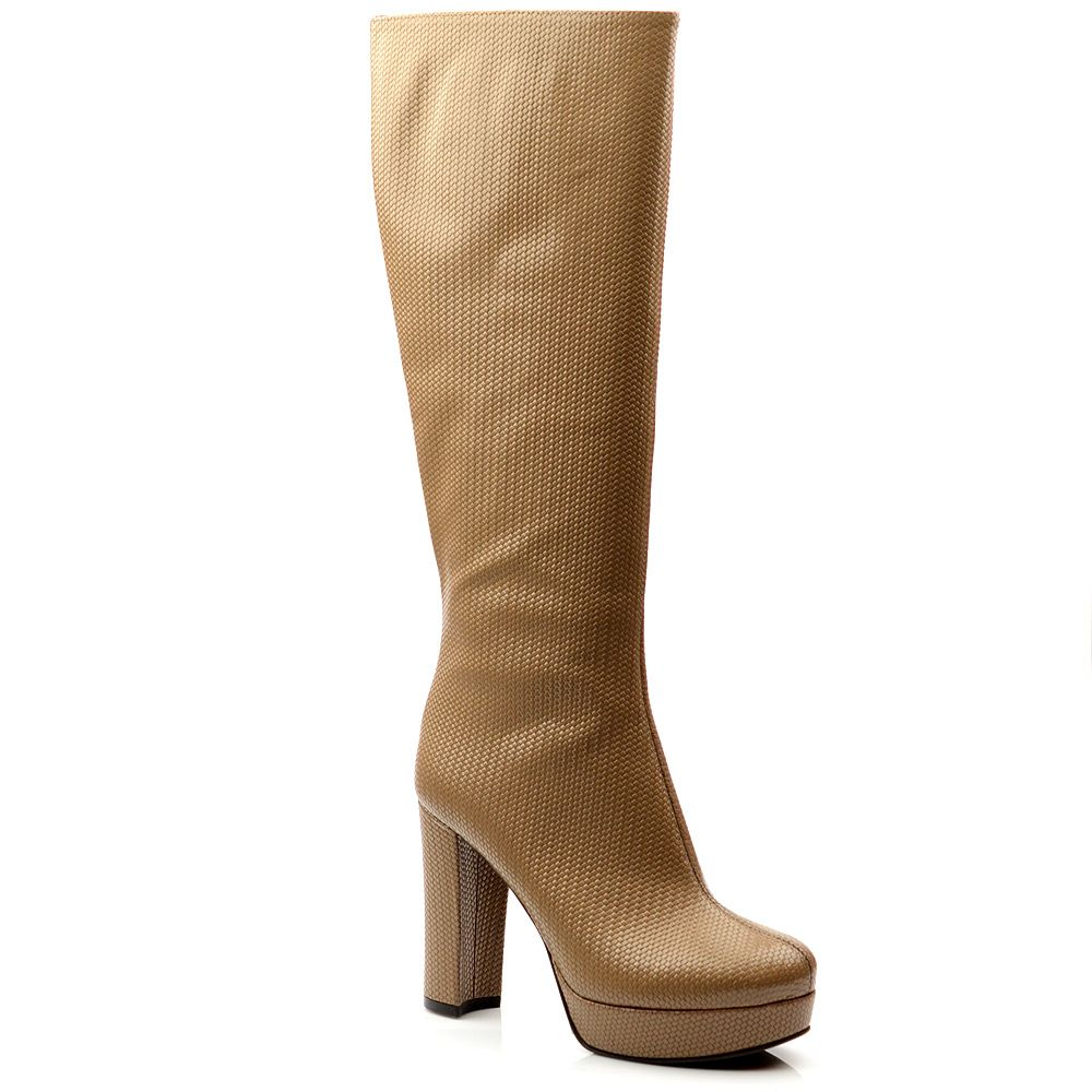 Женские кожаные сапоги Studio Pollini бежевые