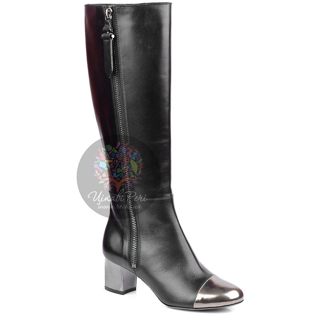 Сапоги Pollini на молнии снаружи черные с серебристым носком и каблуком