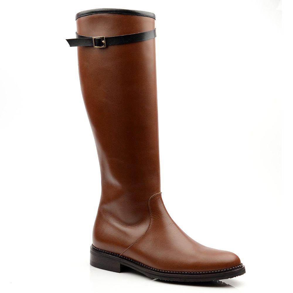 Женские кожаные сапоги Studio Pollini коричневые