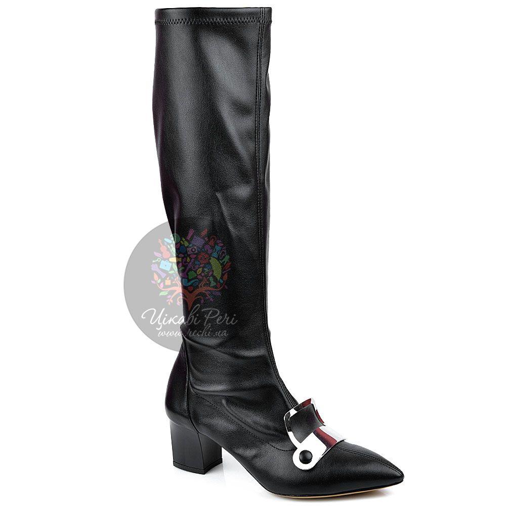 Сапоги-чулки Pollini черные с узким носком