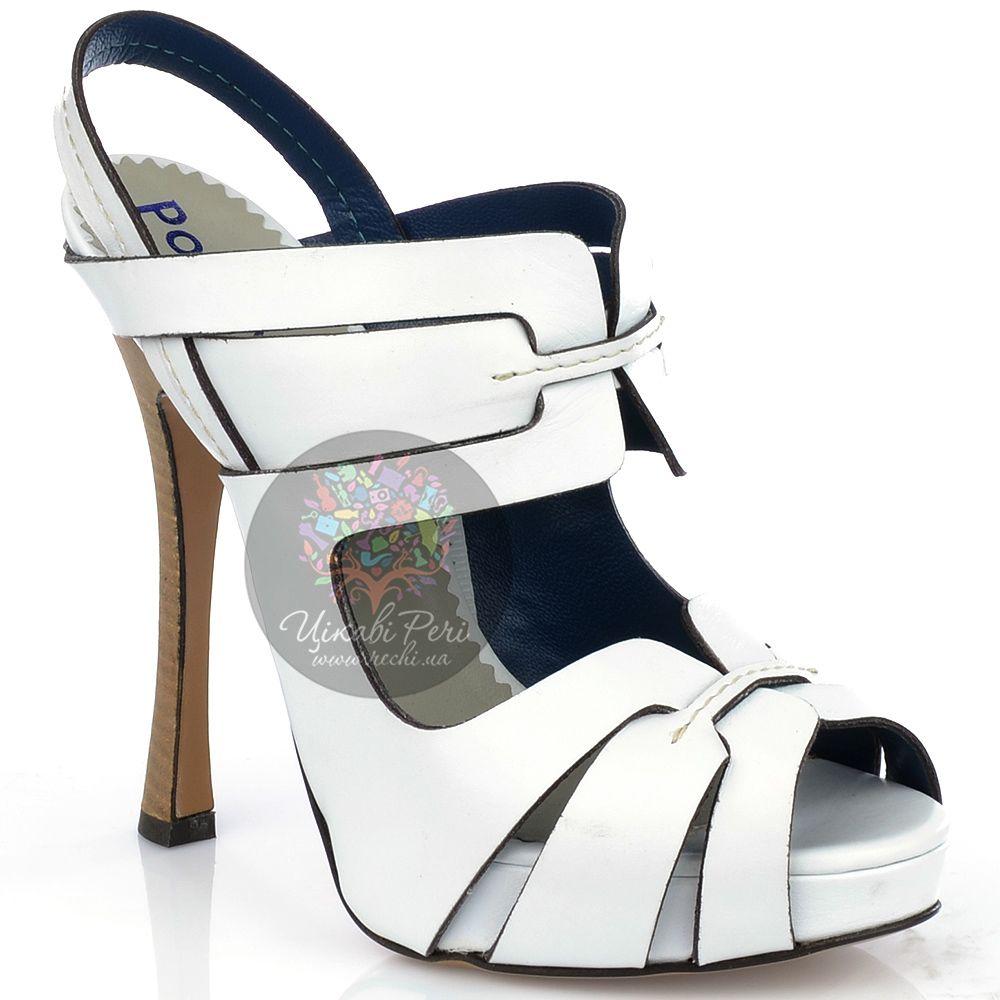 Босоножки Pollini из белой кожи на талированном наборном каблуке