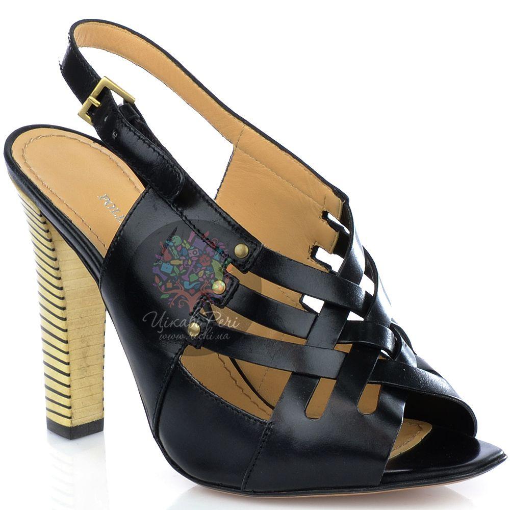 Босоножки Pollini закрытые из черной кожи на наборном каблуке-столбике