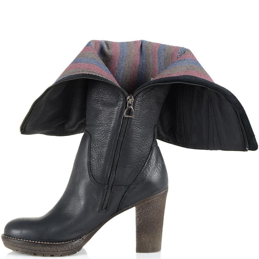 Черные кожаные сапоги U.S. Polo на устойчивом каблуке
