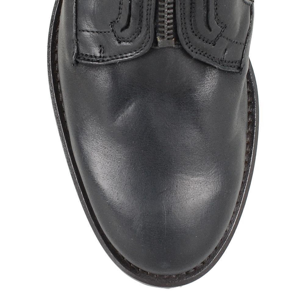 Женские кожаные сапоги U.S. Polo черные со стеганым рисунком на молнии впереди