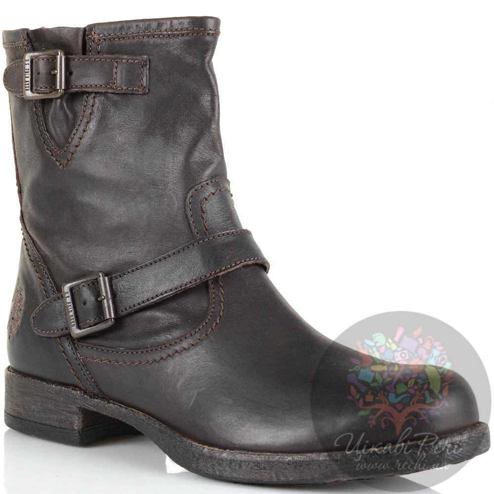 Высокие кожаные ботинки U.S. Polo темно-коричневые женские в стиле гранж
