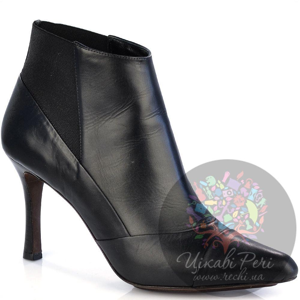 Ботильоны Derek Lam кожаные черные на среднем изящном каблуке