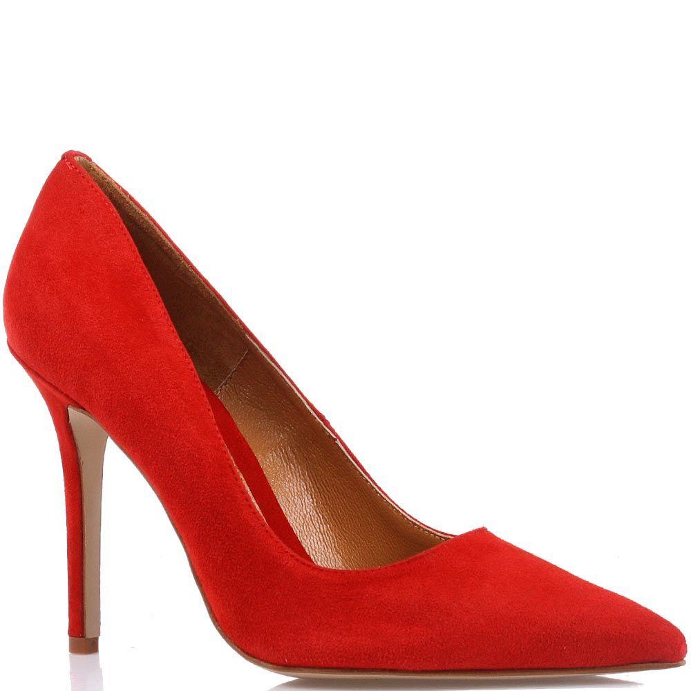 Туфли-лодочки Cafe Noir из натуральной замши ярко-красного цвета