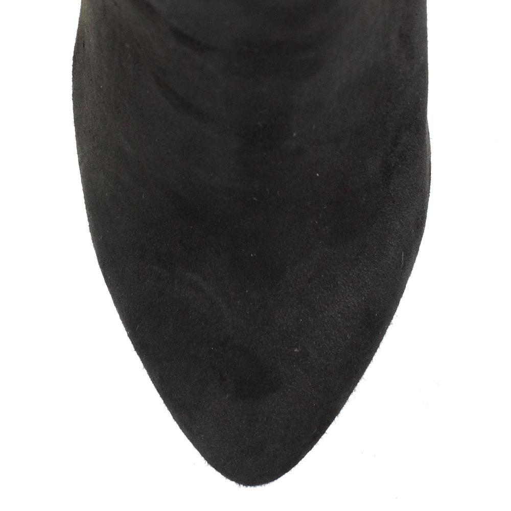 Сапоги Roberto Serpentini на шпильке замшевые черные с мехом