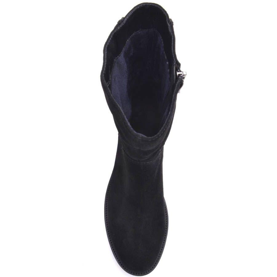 Ботинки Prego с прямым голенищем замшевые с молнией сзади и кристаллами