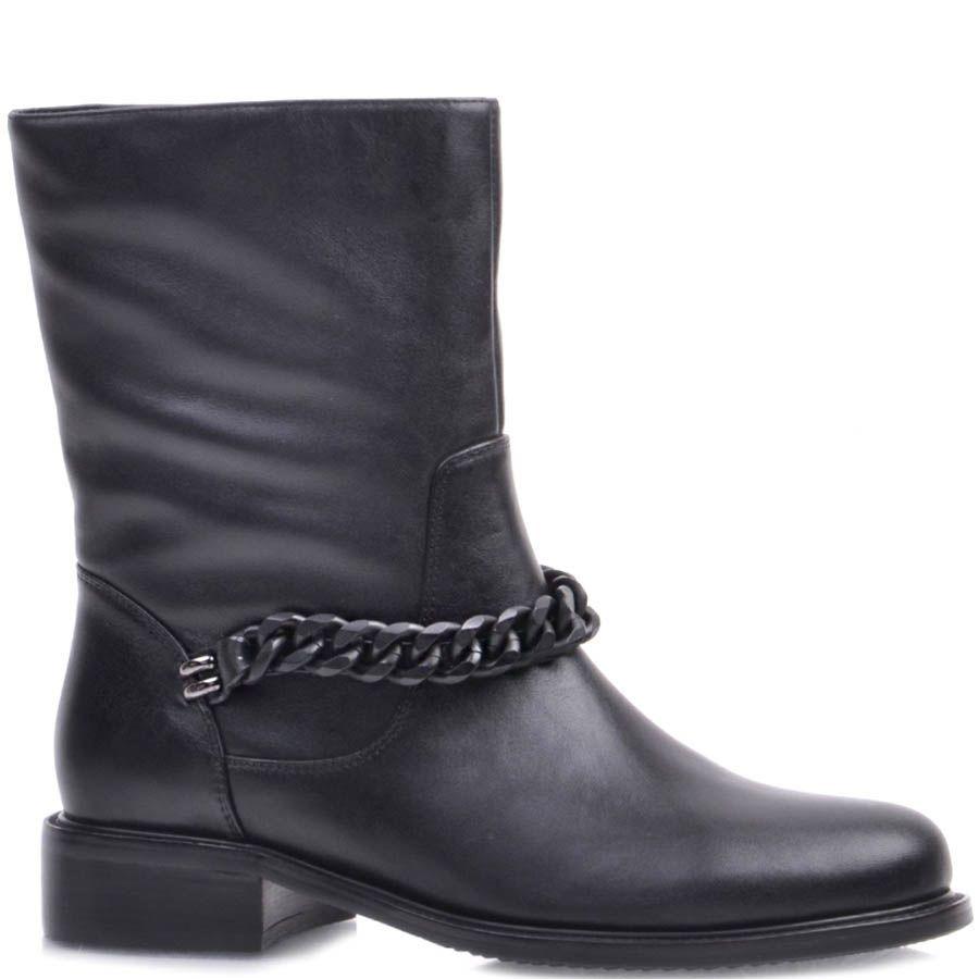 Ботинки Prego черного цвета из матовой кожи и с матовой цепочкой