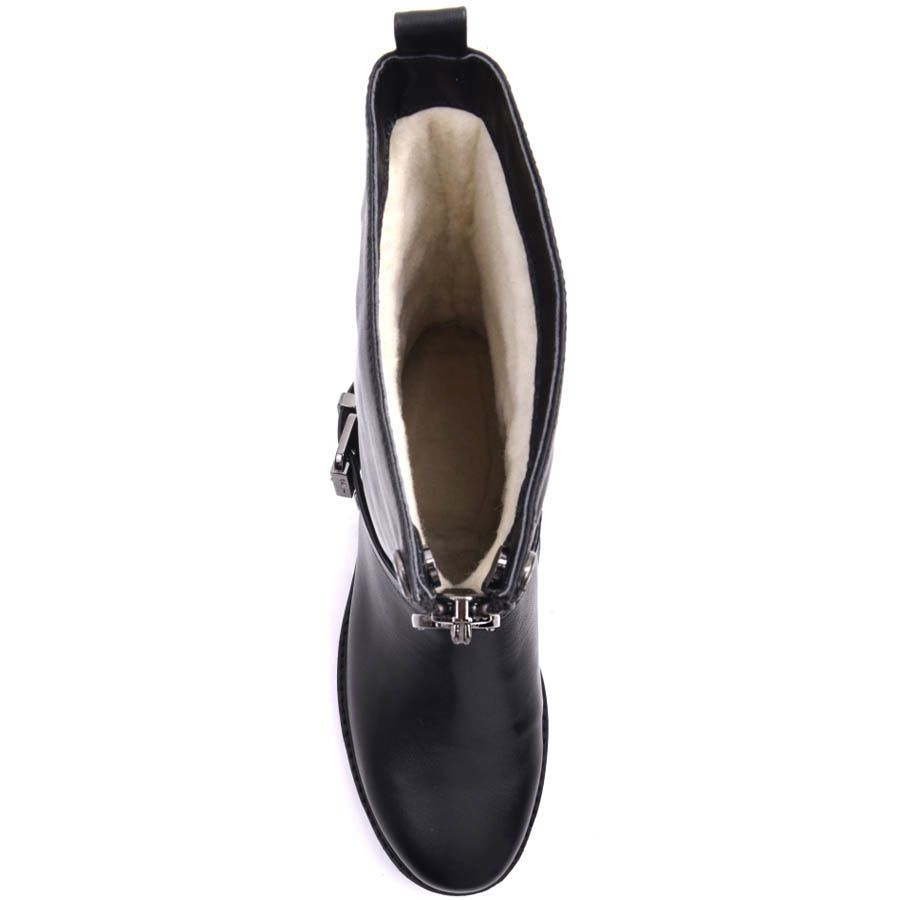 Ботинки Prego зимние черного цвета с молнией посередине и пряжкой