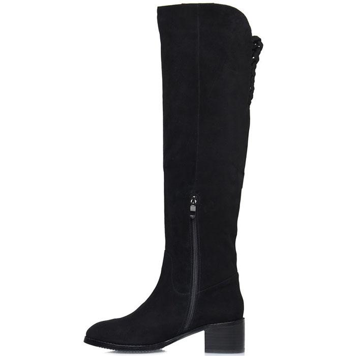 Замшевые сапоги Prego черного цвета на низком каблуке