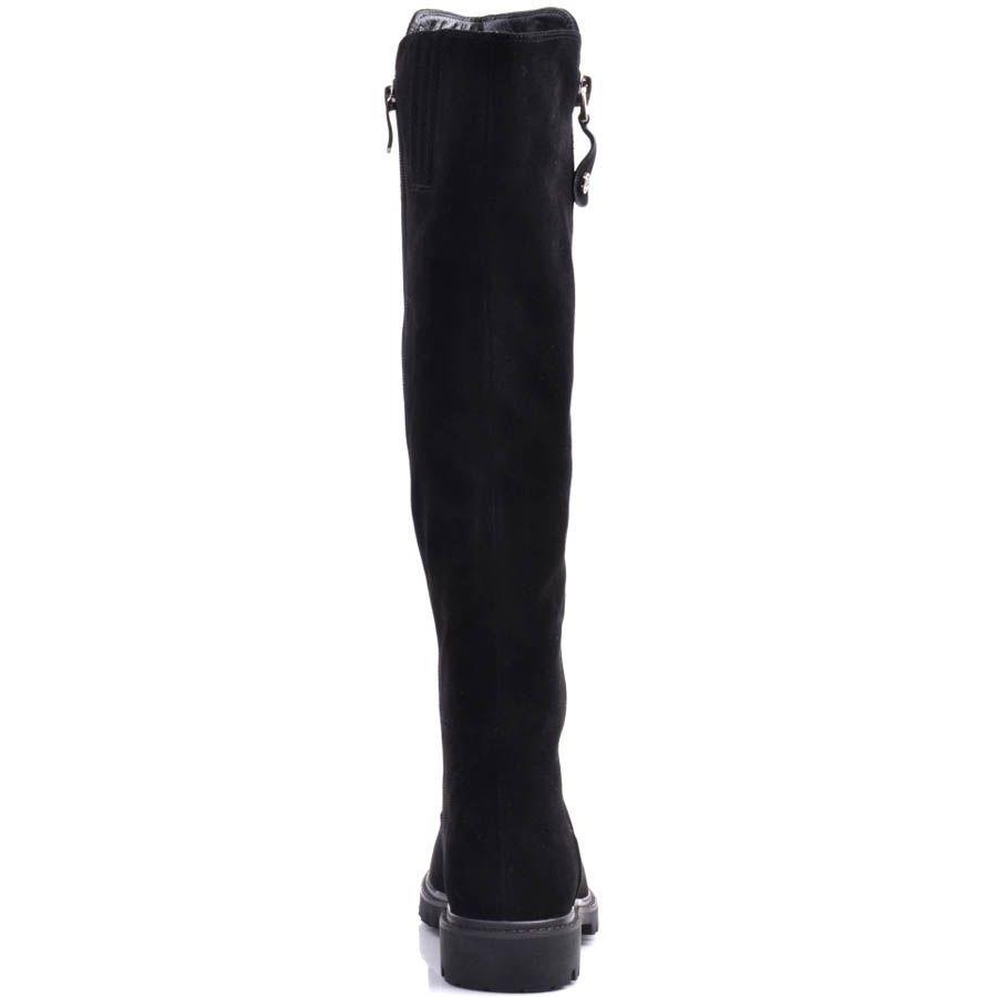 Сапоги Prego зимние черного цвета на низком ходу с мехом до щиколотки и серебристой молнией
