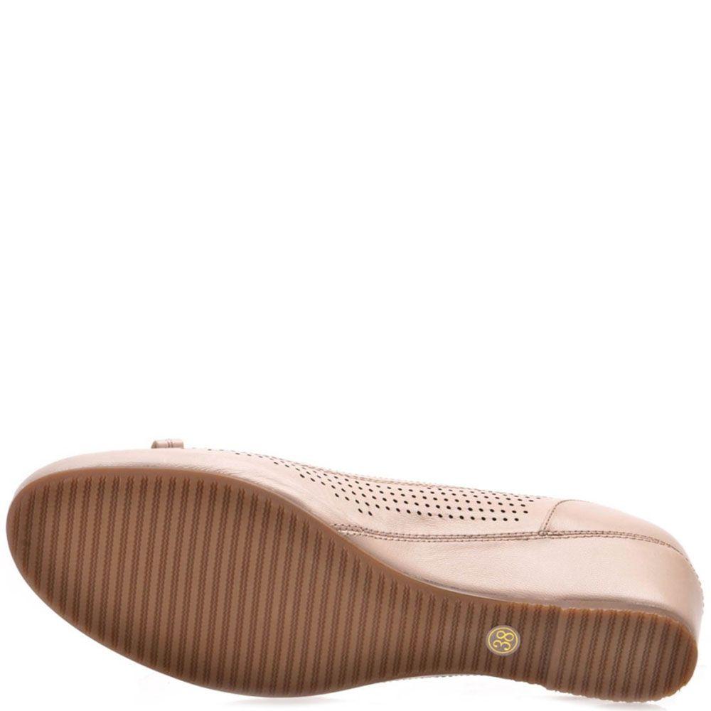 Туфли Prego из натуральной кожи бежевого цвета с перфорацией