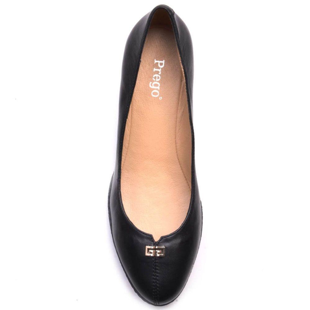 Туфли Prego из натуральной глянцевой кожи черного цвета