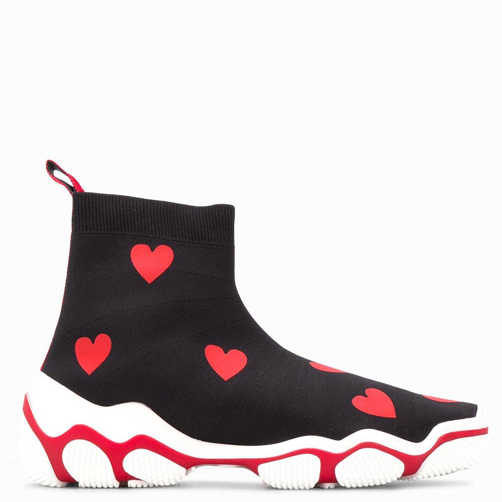 Высокие кеды Red Valentino Glam Run черные в красные сердца