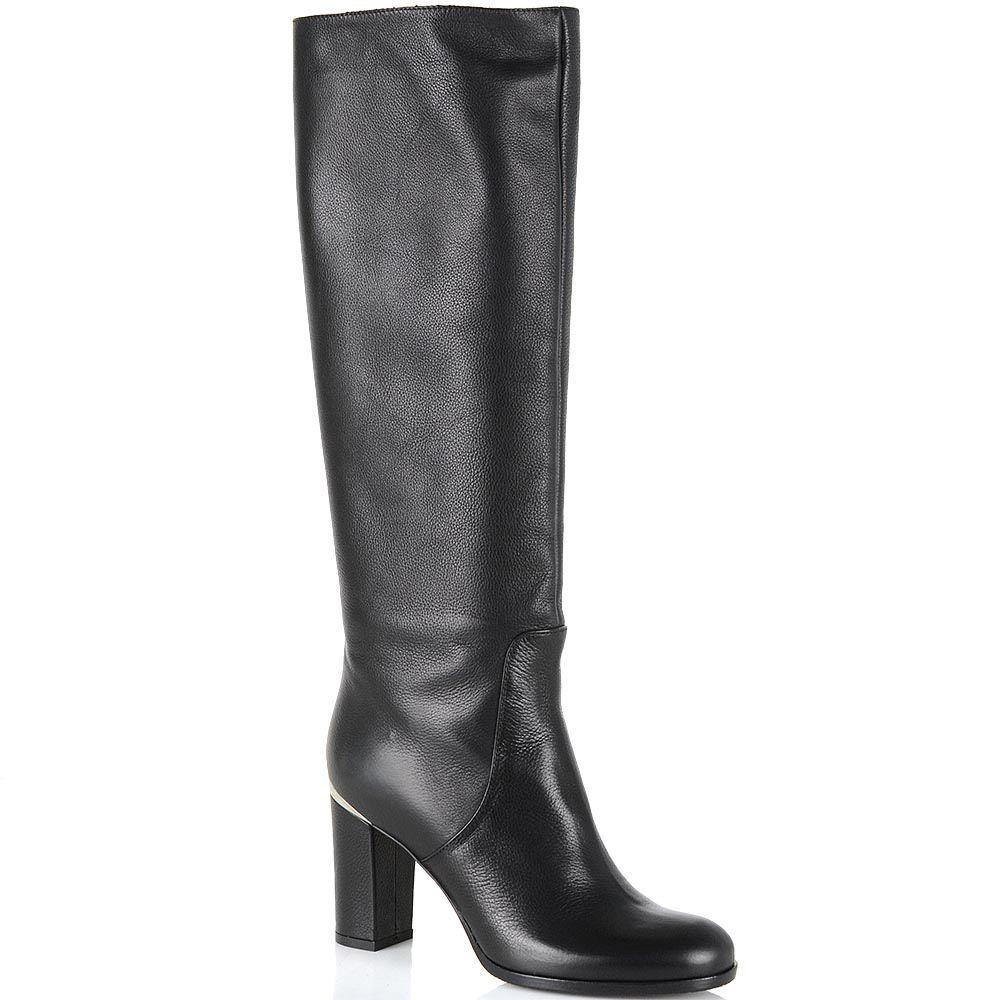 Сапоги Renzi кожаные черные на среднем каблуке