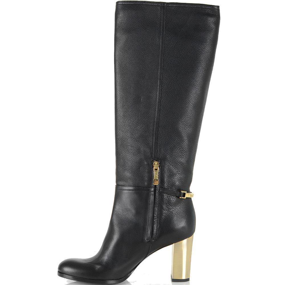 Сапоги Renzi кожаные черные на золотистом каблуке