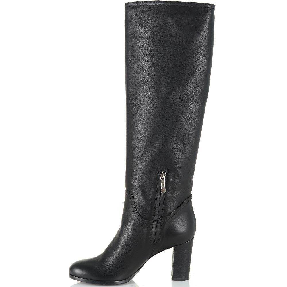 Зимние сапоги Renzi кожаные черные высокие на устойчивом каблуке