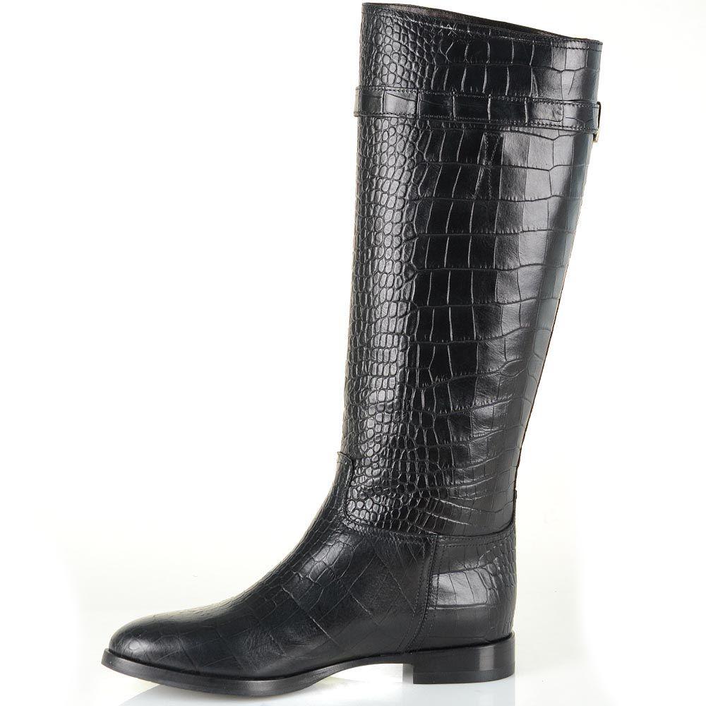 Зимние сапоги Renzi кожаные черные с фактурой под крокодила