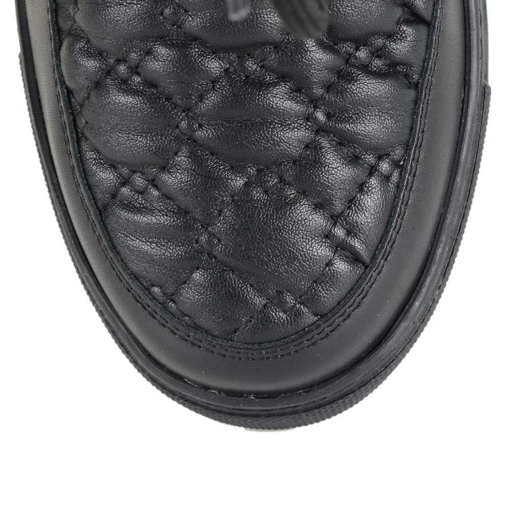 Зимние угги на меху Richmond мягкие черные из замши и стеганой кожи со стразами и шнуровкой