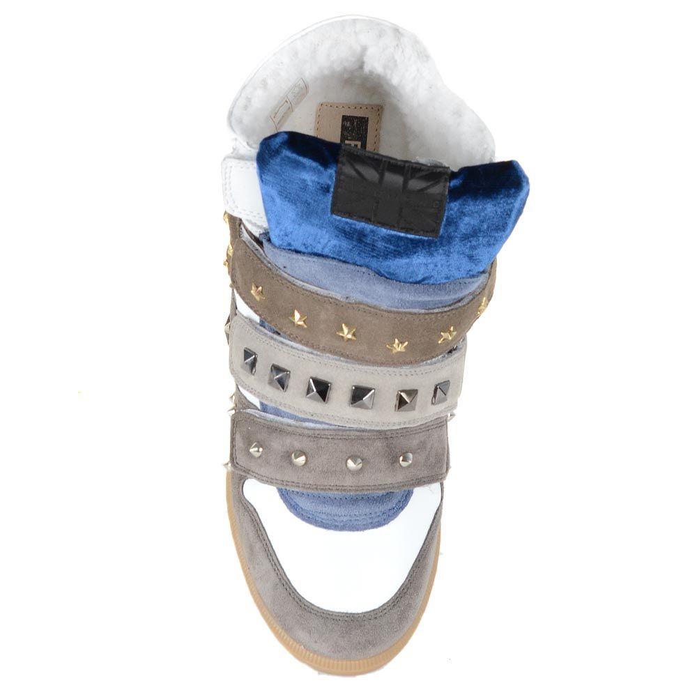 Зимние сникерсы на меху Richmond из белой кожи и бежевой и серой замши в заклепка-звездах и шипах