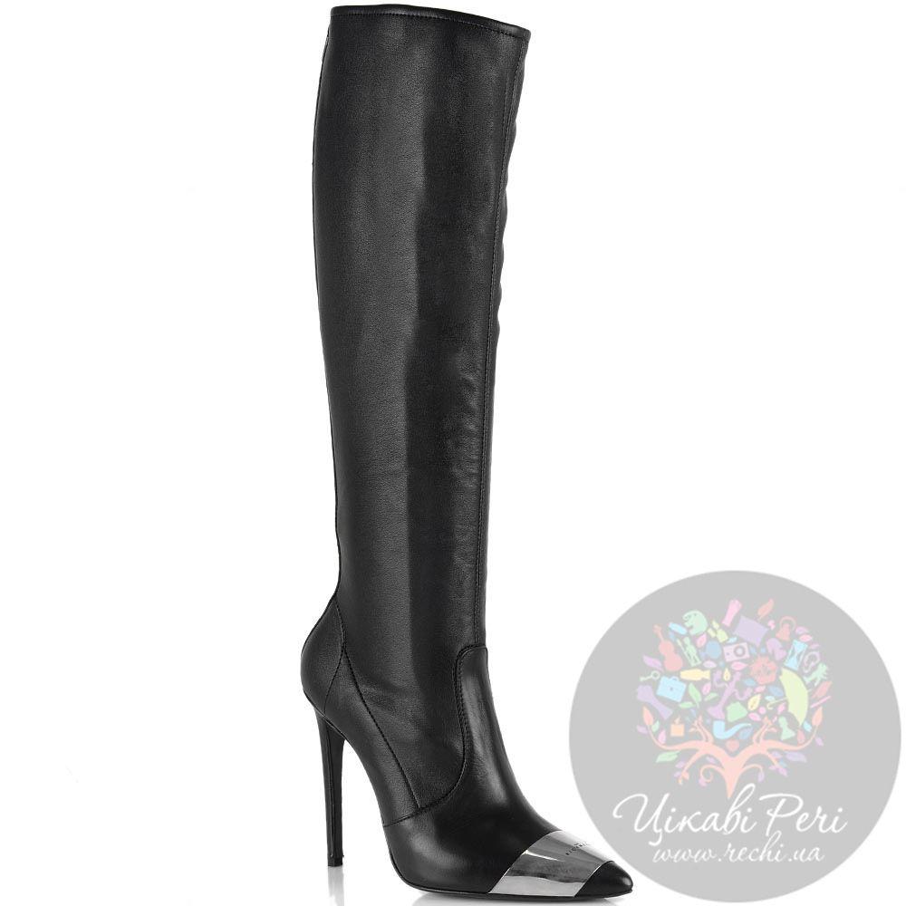 Кожаные сапоги-чулки на шпильке John Richmond черные красиво облегающие ногу