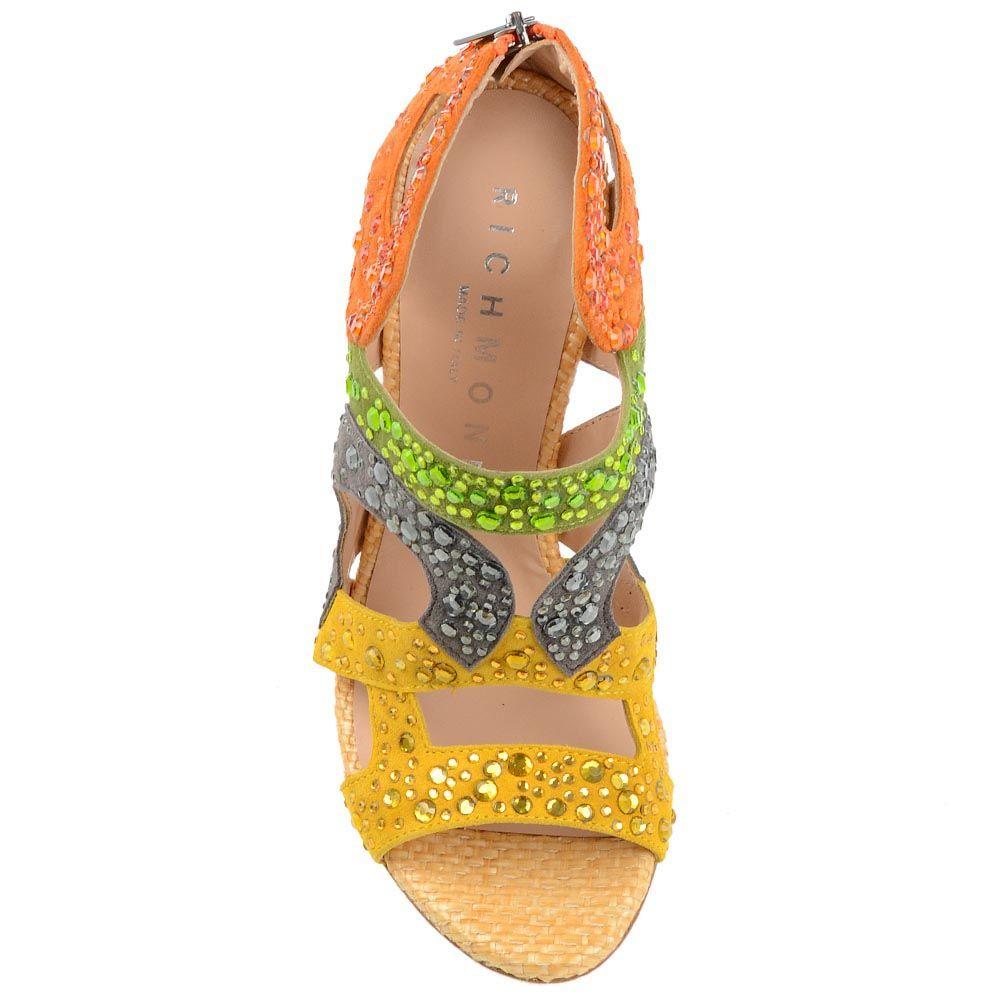 Замшевые босоножки Richmond из разноцветных букв бренда