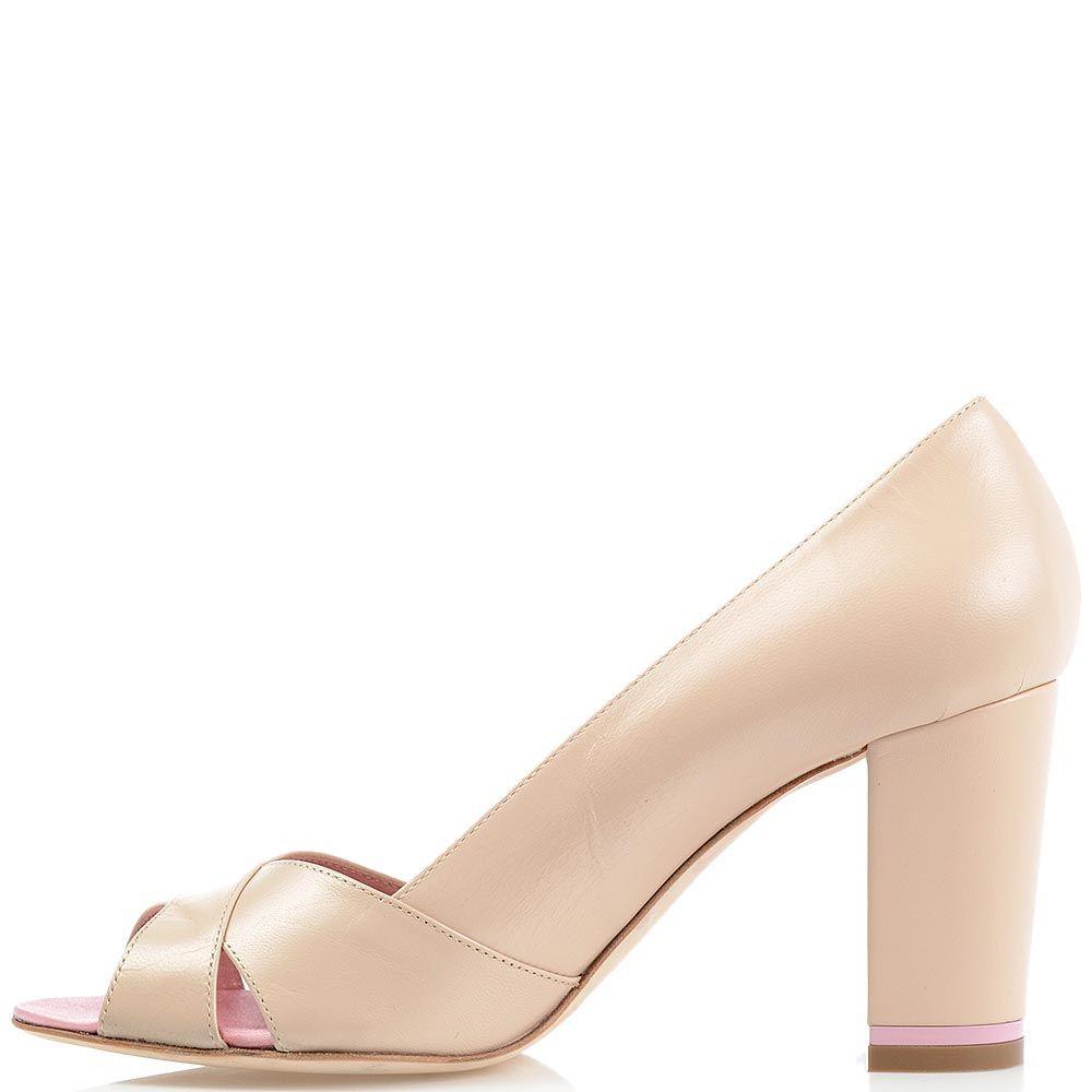 Туфли Richmond из бежевой кожи на среднем каблуке с открытым носочком
