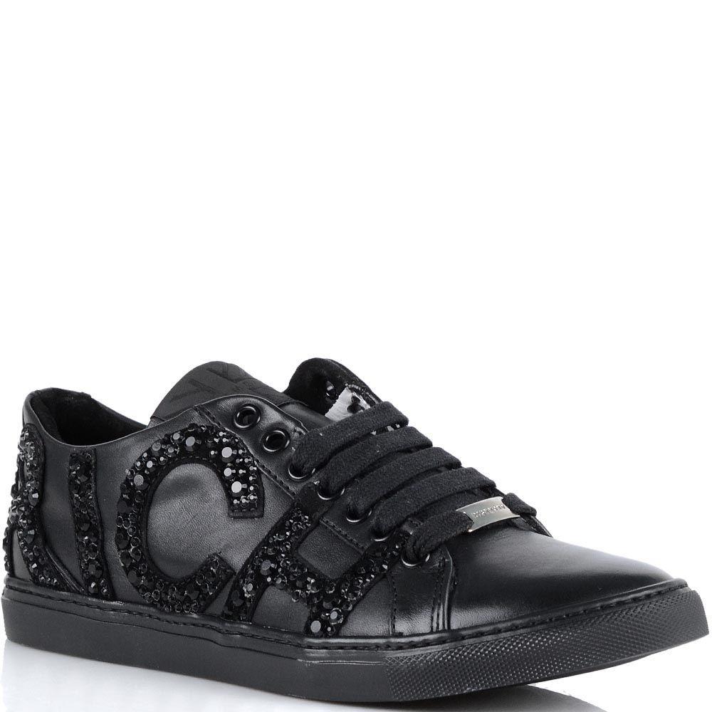 Женские кроссовки Richmond черного цвета из натуральной кожи