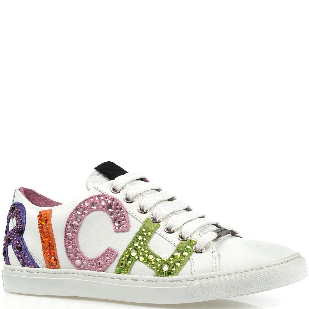 Белые кеды Richmond с разноцветными замшевыми буквами бренда со стразами