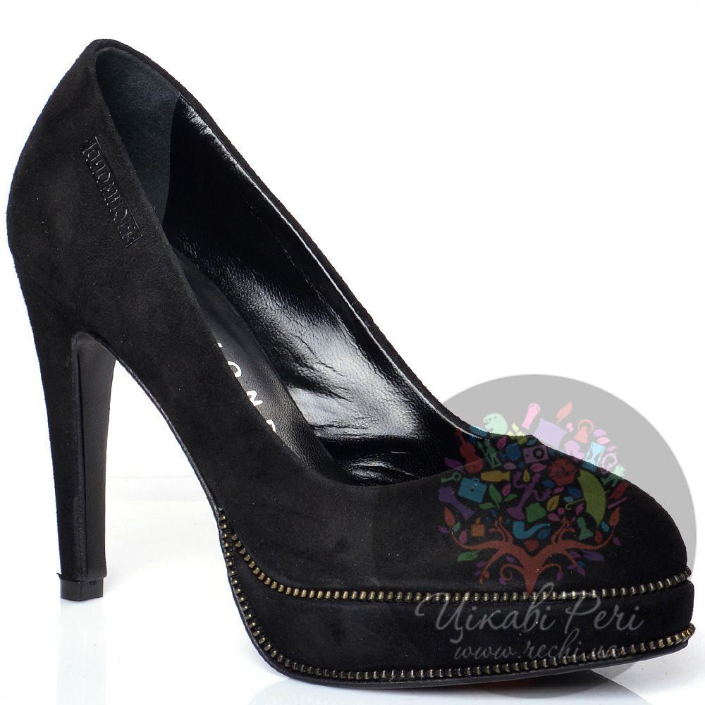 Туфли Richmond замшевые черные на шпильке и скрытой платформе